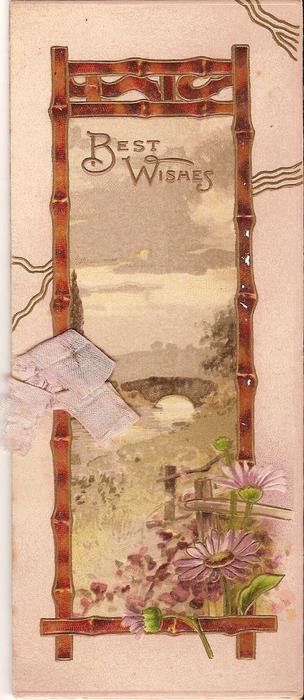 BEST WISHES in gilt above rural inset, pink daisies coming from bottom
