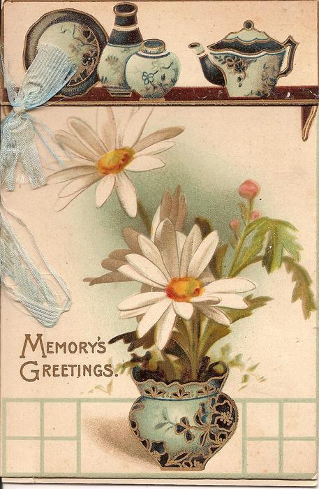 MEMORY'S GREETINGS daisies in vase underneath shelf