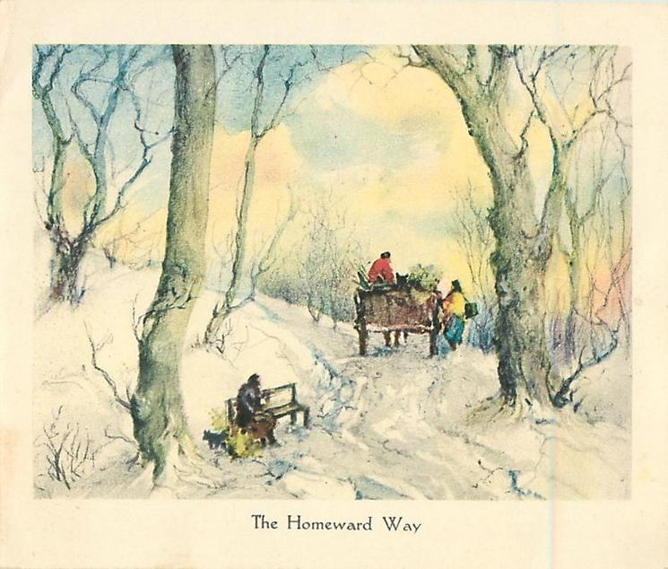 THE HOMEWARD WAY path through trees with person on bench left & horse-cart facing away