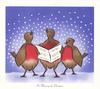 IN HARMONY FOR CHRISTMAS 3 stylised robins sing in snow, centre robin holds music, blue background