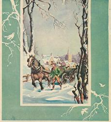no front title, green border with birds in trees, inset of man leading horse-cart in snow