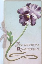 YOU LIVE IN MY REMEMBRANCE below purple pansy