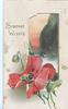 SINCERE WISHES in gilt left, seascape visible through perforation, right,  red poppy & bud below