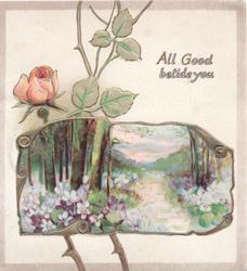 ALL GOOD BETIDE YOU in gilt above flowery rural inset & pink rose left