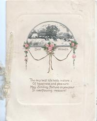 BEST WISHES in gilt below small black & white rural inset, pink roses in gilt design above verse