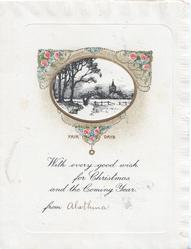 FAIR DAYS in gilt below black & white rural inset, pink roses in gilt design WITH EVERY GOOD WISH FOR CHRISTMAS AND THE COMING YEAR