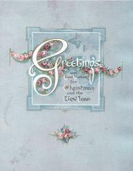 GREETINGS in white across chain of pink roses over square design, grey background