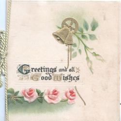 GREETINGS AND ALL GOOD WISHES(illuminated) above 3 pink roses, gilt bell above