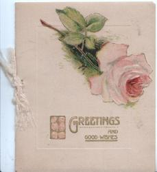 GREETINGS AND GOOD WISHES in gilt below pink rose