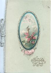 THOUGHTS OF YOU in gilt below oval cameo inset of garden with sundial & pink roses, pale green background