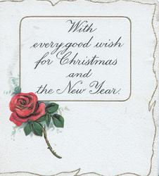 WITH EVERY GOOD WISH FOR CHRISTMAS AND THE NEW YEAR on plaque above red rose