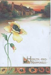 HEALTH AND HAPPINESS in gilt below yellow anemone & bud, street scene above