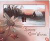 SINCERE GOOD WISHES in gilt below winter rural inset, person & child on snowy road glittered pink daisies left