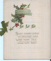 HEARTY GREETINGS in gilt on sign in front of holly leaves