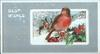 BEST WISHES inset with robin perched on holly branches