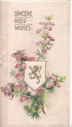 SINCERE GOOD WISHES in gilt above purple heather, rampant gilt lion on cream plaque centrally
