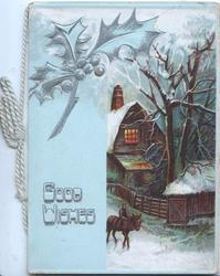 GOOD WISHES below stylized berried holly lighted cottage in moonlit winter rural scene, man rides carthot