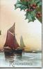 REMEMBRANCE in gilt below seascape with sail boats, berried holly top right