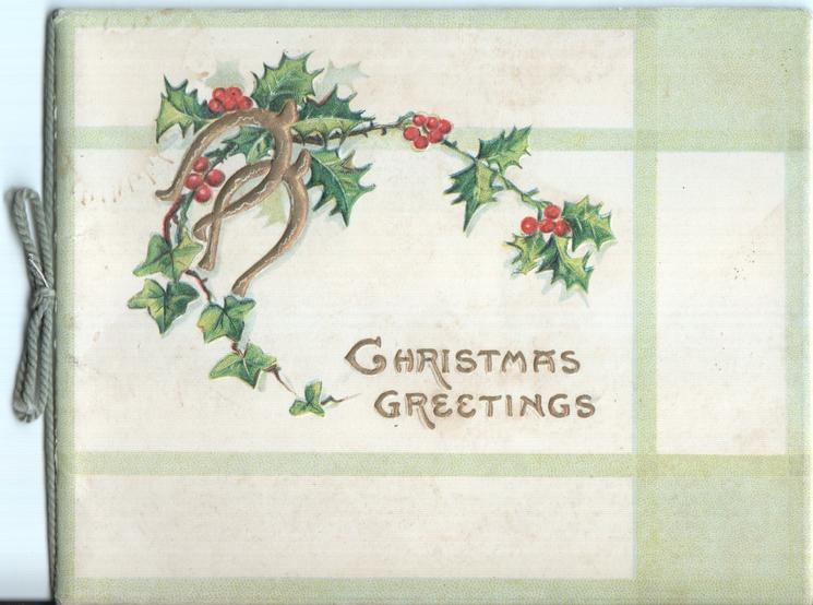 CHRISTMAS GREETINGS in gilt, gilt horseshoes in front of holly branches above