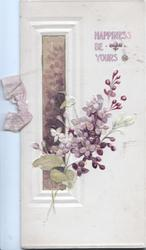 HAPPINESS BE YOURS  above glittered purple lilac, glittered inst window left