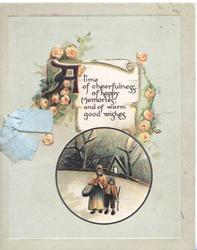 A TIME OF CHEERFULNESS.......WISHES on plaque, orange roses around rural inset below