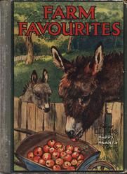 FARM FAVORITES donkeys reach over fence to eat from a basket of apples