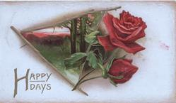 HAPPY DAYS in gilt below red rose & bud & evening rural inset framed with rose stems