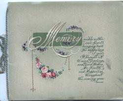 MEMORY in white over green plaque above chain of pink/red roses & verse, olive green background