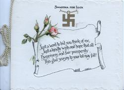 SWASTIKA FOR LOVE over 3 pink rose buds and verse on white  plaque