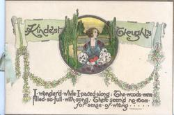 KINDEST THOUGHTS above & beside circular inset of lady in old style dress above berried holly chains, verse