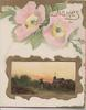 WISHES in gilt, above pink wild roses, gilt framed rural evening inset