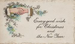 EVERY GOOD WISH FOR CHRISTMAS AND THE NEW YEAR, clasped white male & female hands among forget-me-nots