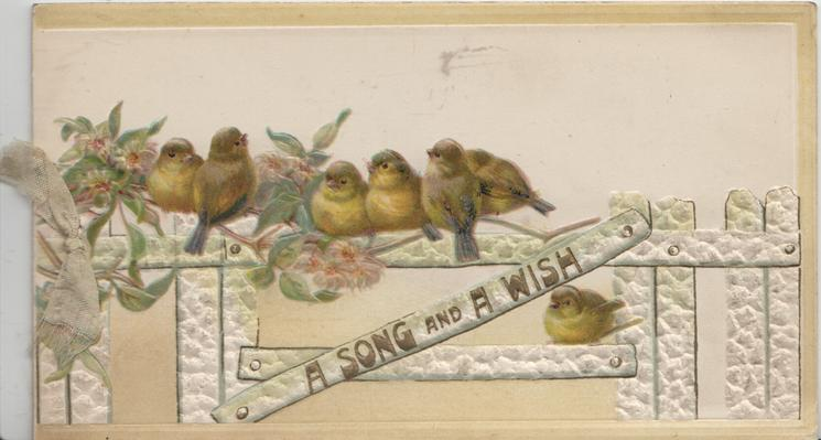 A SONG AND A WISH in gilt below birds of happiness perched white fence scant passion flowers left