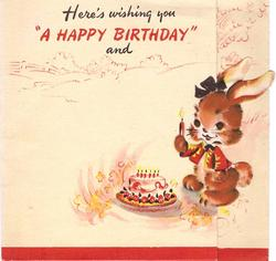 "HERE'S WISHING YOU A ""HAPPY BIRTHDAY"" AND die-cut rabbit holds candle next to cake"