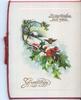 GREETINGS in gilt, winter scene, single robin in flight