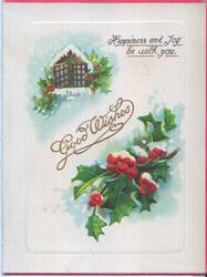 GREETINGS -- HAPPINESS AND JOY BE WITH YOU in gilt, winter scene, holly