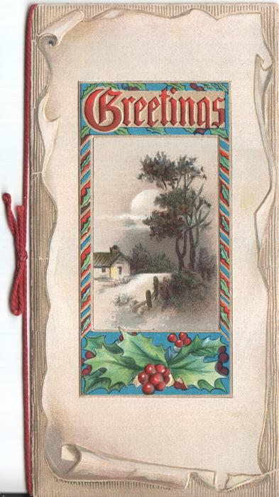 GREETINGS rural scene surrounded by decorative holly