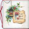 WITH ALL GOOD WISHES (W/G/W illuminated) on parchment in front of holly leaves