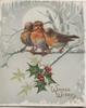 WINGED WISHES in gilt below 3 bluebirds of happiness perched on branch in front of moon, holly below