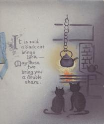 IT IS SAID A BLACK CAT  title below, 2 black cats sit watching kettle on a blazing fire, purple background