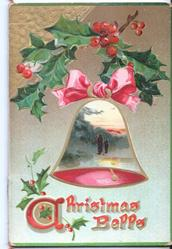 CHRISTMAS BELLS bell with rural inset inside, holly above