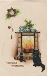 WARM WISHES black cat sits facing front, another looks into flaming fire, HOME SWEET HOME on fireplace below clock & holly