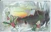 REMEMBRANCE winter scene, two people looking towards cabin, exaggerated holly leaves