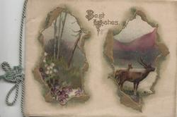 BEST WISHES in gilt top, deer right, heather left in separate gilt bordered insets, hills & lochs behind both
