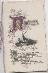 HAPPINESS(illuminated), top above 2 deer, verse below