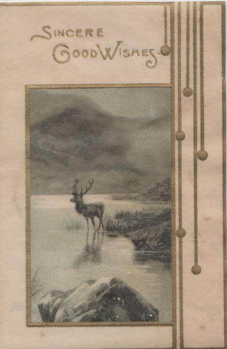 SINCERE GOOD WISHES in gilt above inset of stag in loch, rocks around, mountains behind, gilt design right