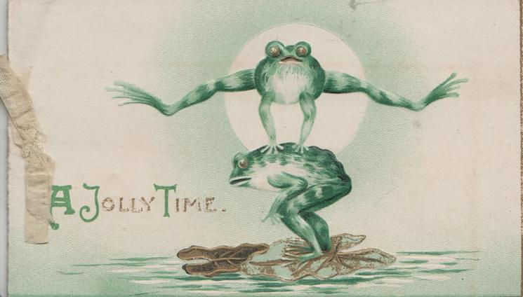 A JOLLY TIME(A,J & T illuminated) 2 frogs on gilt lily pads play leapfrog