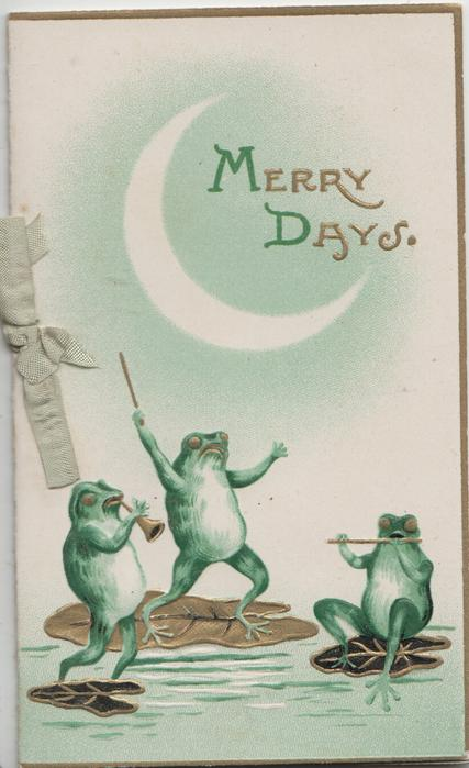 MERRY DAYS(M & D illuminated) 3 frogs on gilt lily pads play music, sliver of moon
