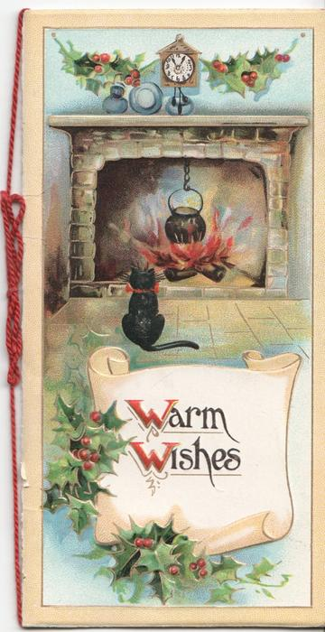 WARM WISHES (W/W illuminated) kitten looking at fireplace, holly above mantle