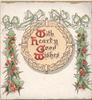 WITH HEARTY GOOD WISHES (W/H/G/W illuminated) holly leaves to each side